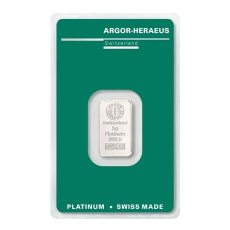 (LIN.Argor-Heraeus.5.pt.0) Lingot platine 5 grammes Argor-Heraeus (blister certifié) Recto