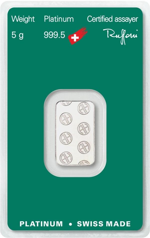 (LIN.Argor-Heraeus.5.pt.0) Platinum bar 5 grams Argor-Heraeus (certified blister) Back (zoom)