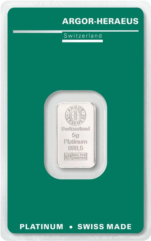 (LIN.Argor-Heraeus.5.pt.0) Platinum bar 5 grams Argor-Heraeus (certified blister) Front (zoom)