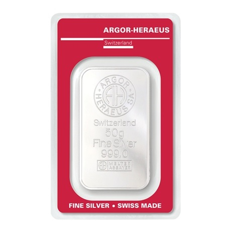 (LIN.Argor-Heraeus.50.ag.0) Lingot argent 50 grammes Argor-Heraeus (blister certifié) Recto