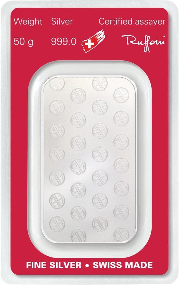(LIN.Argor-Heraeus.50.ag.0) Silver bar 50 grams Argor-Heraeus (certified blister) Back (zoom)
