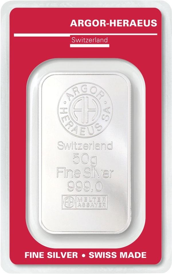 (LIN.Argor-Heraeus.50.ag.0) Silver bar 50 grams Argor-Heraeus (certified blister) Front (zoom)