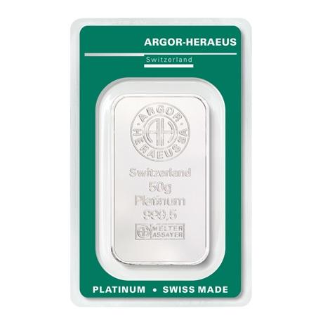 (LIN.Argor-Heraeus.50.pt.0) Lingot platine 50 grammes Argor-Heraeus (blister certifié) Recto