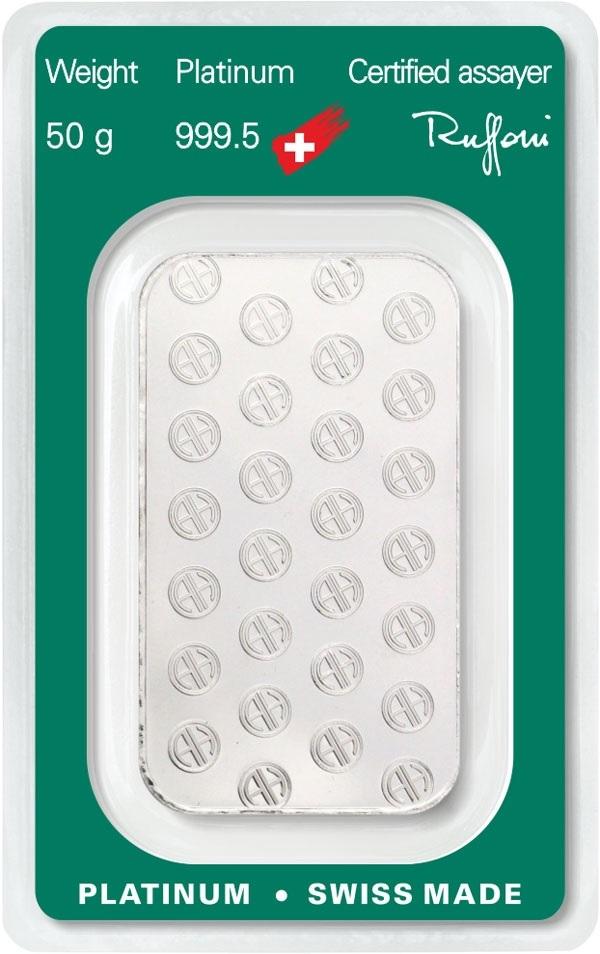 (LIN.Argor-Heraeus.50.pt.0) Platinum bar 50 grams Argor-Heraeus (certified blister) Back (zoom)