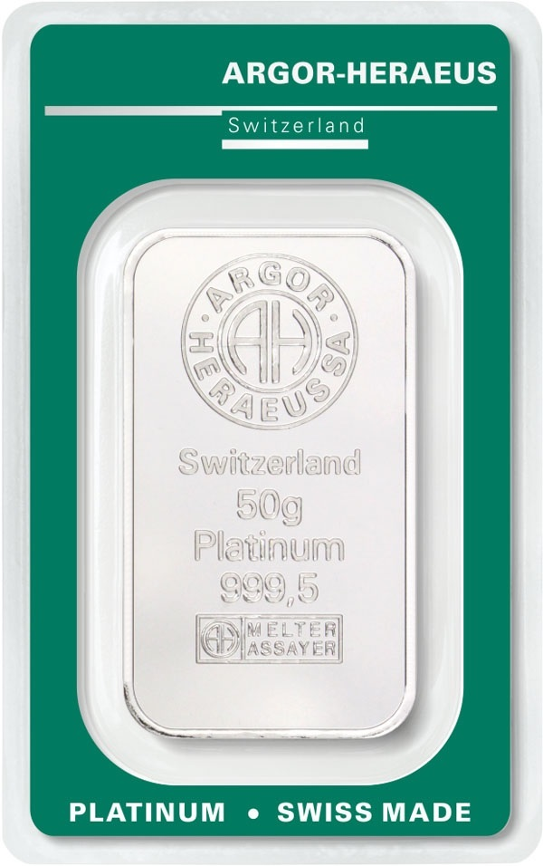 (LIN.Argor-Heraeus.50.pt.0) Platinum bar 50 grams Argor-Heraeus (certified blister) Front (zoom)