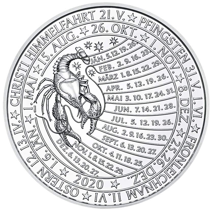 (MED01.Méd.MünzeÖ.2020.Ag.24701) Silver medal - Calendar 2020 Reverse (zoom)
