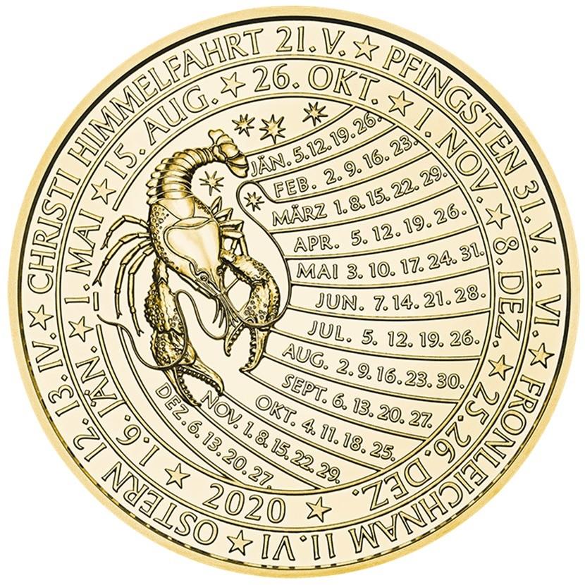 (MED01.Méd.MünzeÖ.2020.Au.plated.Ag.24702) Gold plated silver medal - Calendar 2020 Reverse (zoom)