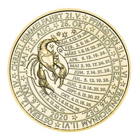 (MED01.Méd.MünzeÖ.2020.Au.plated.Ag.24702) Médaille vermeil - Calendrier 2020 Revers