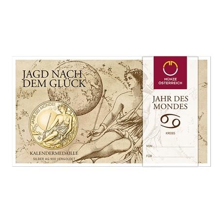 (MED01.Méd.MünzeÖ.2020.Au.plated.Ag.24702) Médaille vermeil - Calendrier 2020 (packaging)