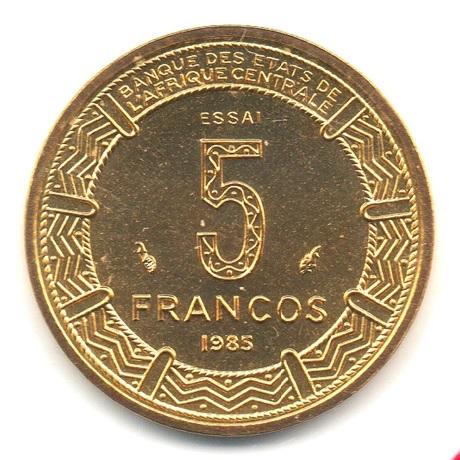 (W087.500.1985.essai.000000002) Essai 5 Francos Antilopes 1985 Revers