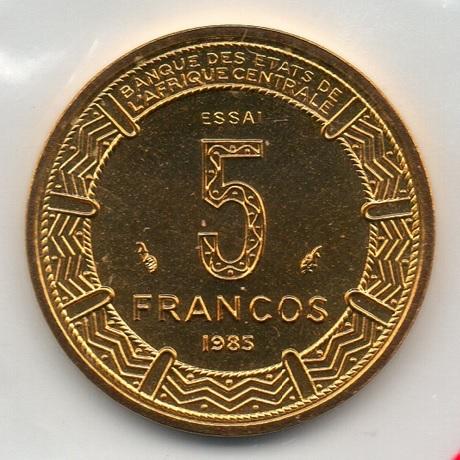 (W087.500.1985.essai.000000002) Essai 5 Francos Antilopes 1985 (verso pochette)