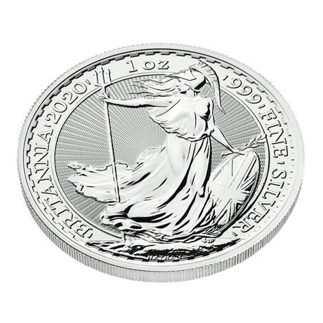 (W185.200.2020.1.ag.bullco.1) 2 Pounds Royaume-Uni 2020 1 once argent - Britannia (tranche)