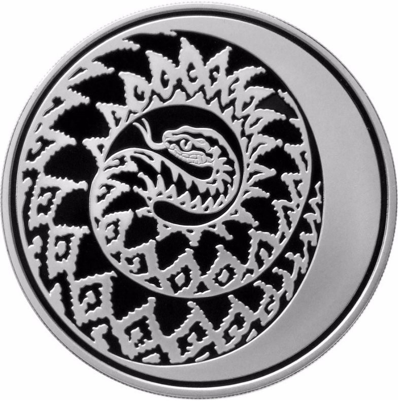 (W186.3.R.2013.1.oz.Ag.925.1) 3 Rubles Russia 2013 1 oz Proof silver - Year of the Snake Reverse (zoom)