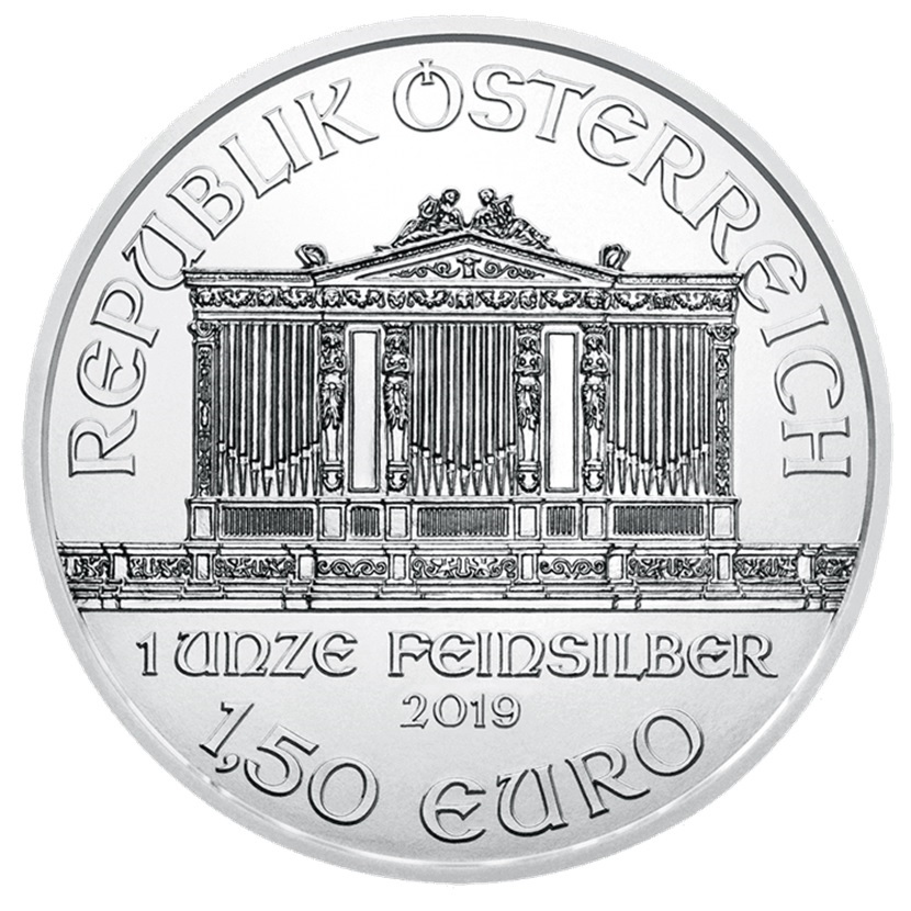 (EUR01.150.2019.1.ag.bullco.24866) 1,50 euro Austria 2019 1 ounce fine silver - Philharmonic Obverse (zoom)