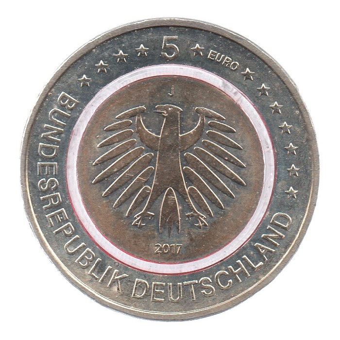 (EUR03.500.2017_J.COM1.sup.000000001) 5 euro Germany 2017 J - Tropical zone Obverse (lit polymer) (zoom)
