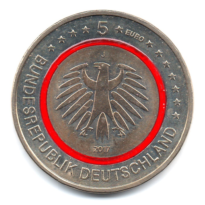 (EUR03.500.2017_J.COM1.sup.000000001) 5 euro Germany 2017 J - Tropical zone Obverse (zoom)