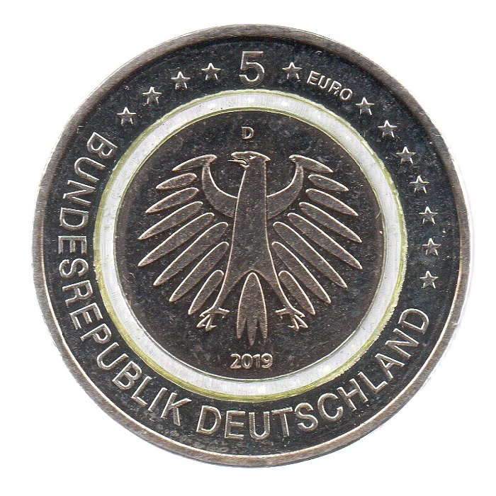 (EUR03.500.2019_D.COM1.sup.000000001) 5 euro Germany 2019 D - Temperate zone Obverse (lit polymer) (zoom)