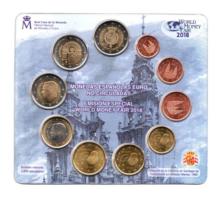 (EUR05.CofBU&FDC.2018.M-S1.1508) BU mini-set Spain 2018 - Berlin World Money Fair Front (zoom)