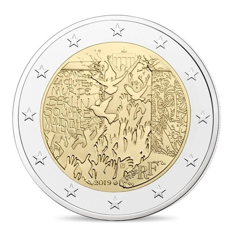 (EUR07.ComBU&BE.2019.200.BU.10041330020000) 2 euro commémorative France 2019 BU - Mur de Berlin Avers