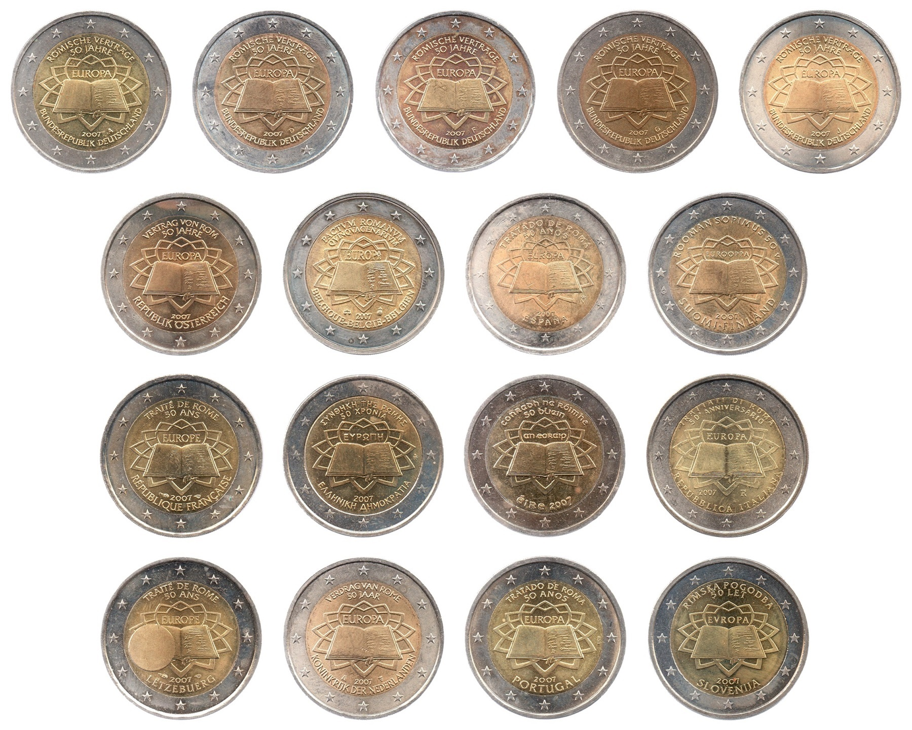 (LOT.134.200.2007.1.sup.à.spl.000000001) 2 euro 2007 - Treaty of Rome (complete series of 17 coins) Obverses (zoom)