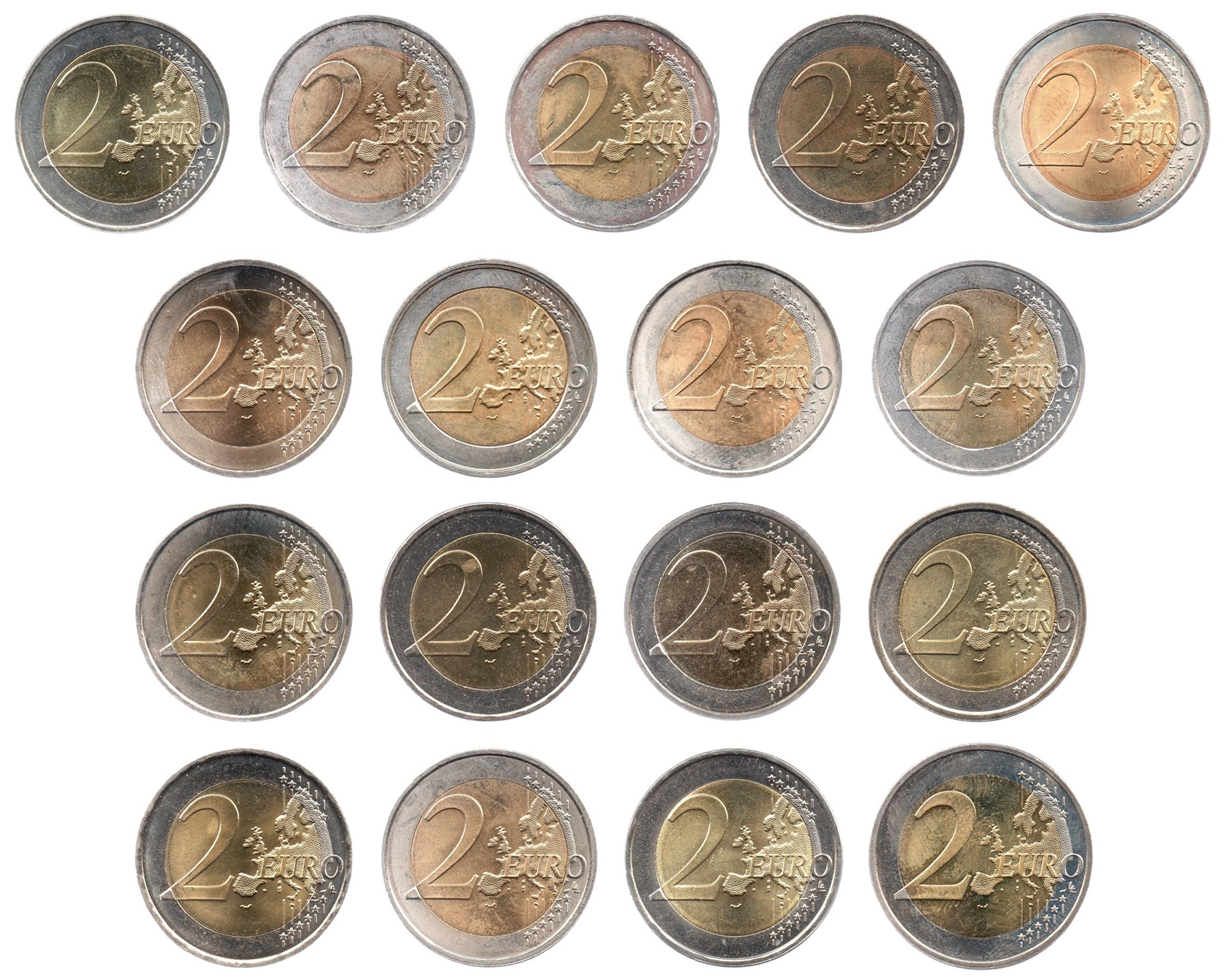 (LOT.134.200.2007.1.sup.à.spl.000000001) 2 euro 2007 - Treaty of Rome (complete series of 17 coins) Reverses (zoom)