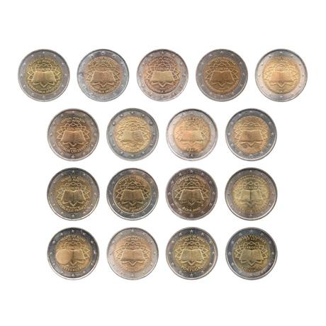 (LOT.134.200.2007.1.sup.à.spl.000000001) 2 euro commémoratives 2007 - Traité de Rome (série des 17 pièces) Avers