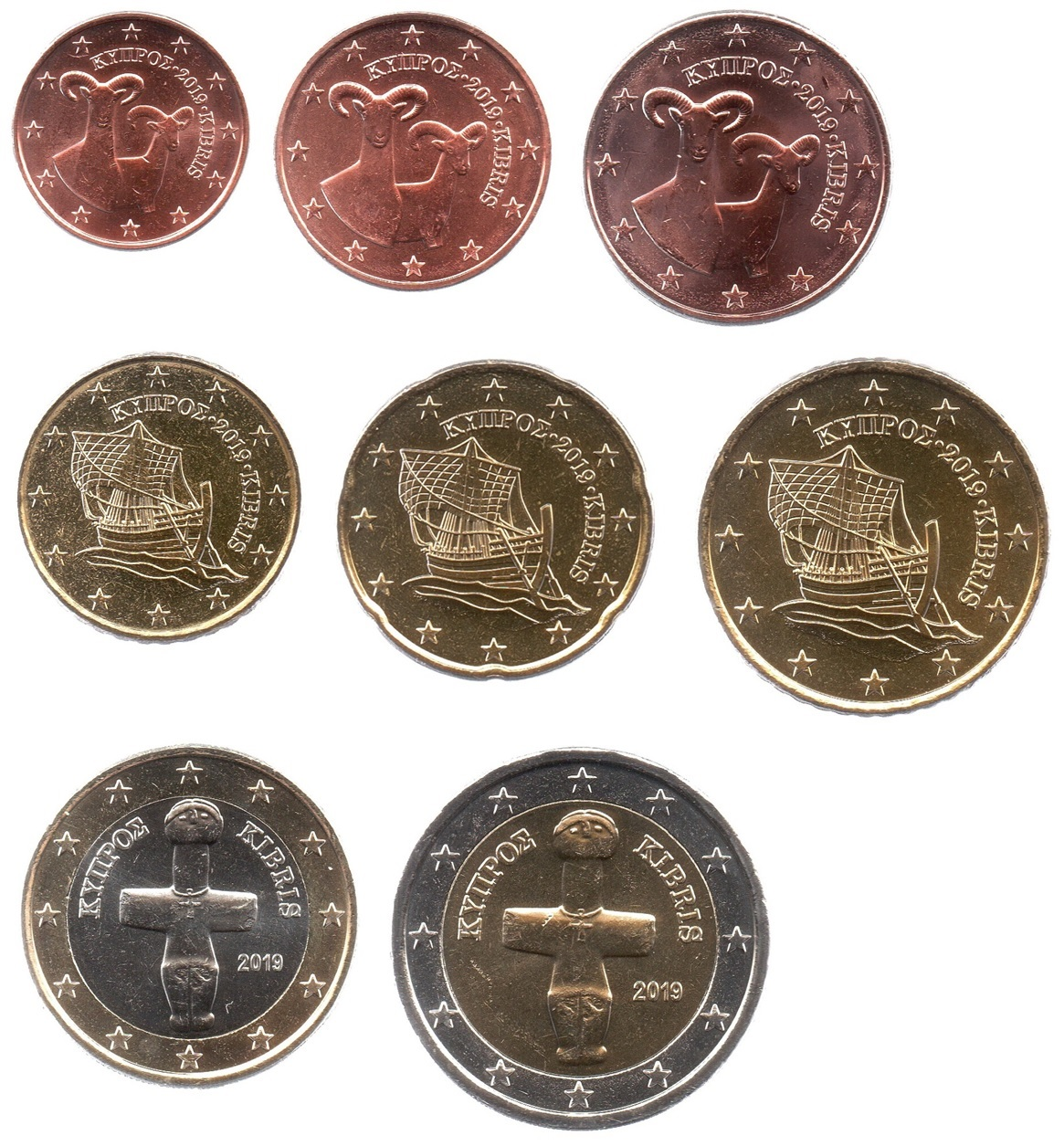 (LOT.EUR04.001to200.2019.1.spl.000000002) Complete series from 1 cent to 2 euro Cyprus 2019 Obverses (zoom)