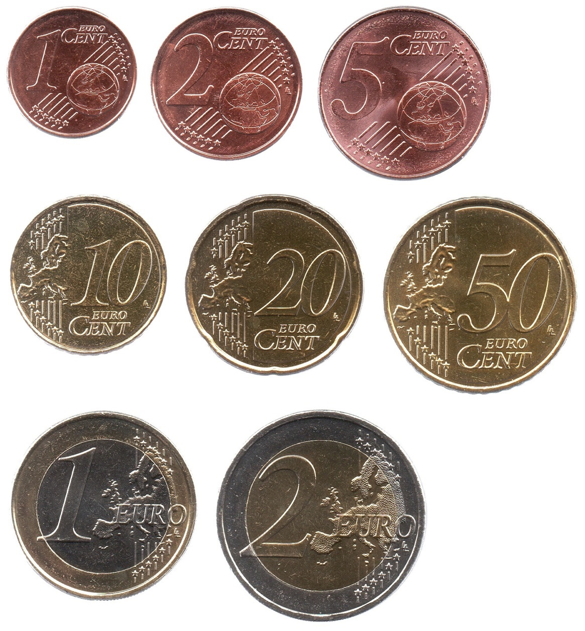 (LOT.EUR04.001to200.2019.1.spl.000000002) Complete series from 1 cent to 2 euro Cyprus 2019 Reverses (zoom)