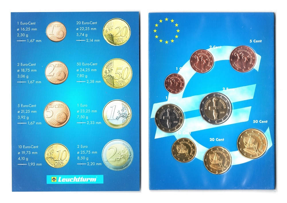 (LOT.EUR04.001to200.2019.2.spl.000000001) Complete series from 1 cent to 2 euro Cyprus 2019 Obverses (zoom)