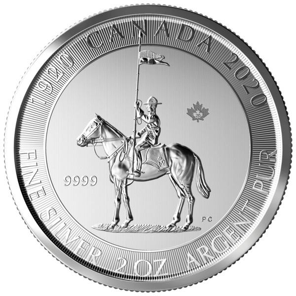 (W037.1000.2020.2.ag.bullco.1) 10 dollars Canada 2020 2 oz silver - Mounted police Obverse (zoom)