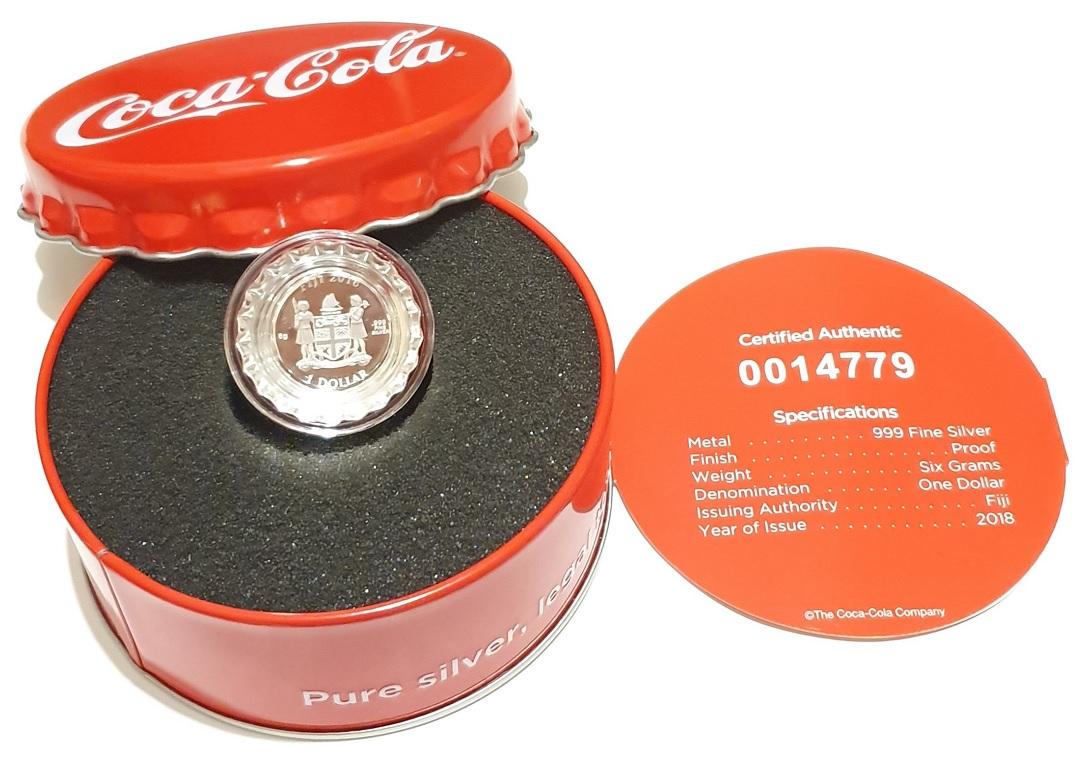 (W073.100.2018.6.g.ag.bullco.1.0014779) 1 dollar Fiji 2018 6 grams Proof silver - Coca-Cola Obverse (zoom)