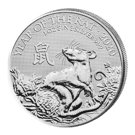 (W185.200.2020.1.ag.bullco.2) 2 Pounds Royaume-Uni 2020 1 once argent - Année du Rat Revers
