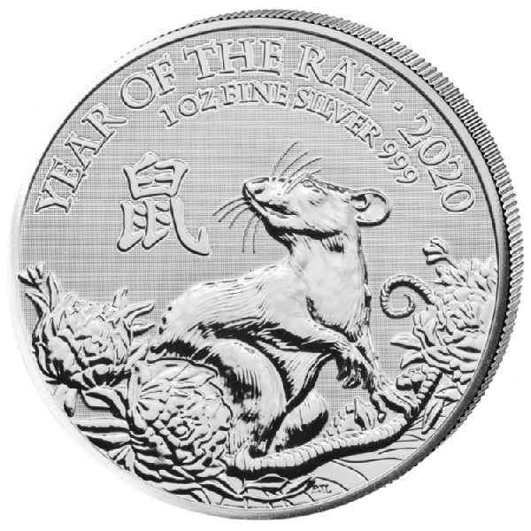 (W185.200.2020.1.ag.bullco.2) 2 Pounds United Kingdom 2020 1 oz silver - Year of the Rat Reverse (zoom)