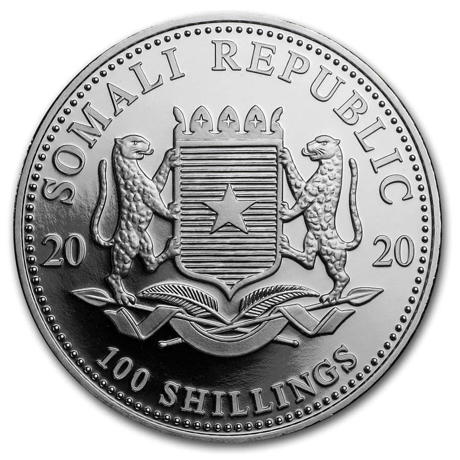 (W203.10000.2020.1.ag.bullco.1) 100 Shillings Somali Republic 2020 1 oz silver - Elephant Obverse (zoom)