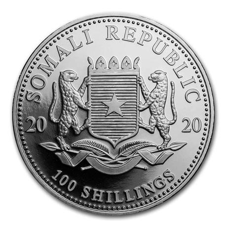 (W203.10000.2020.1.ag.bullco.1) 100 Shillings Somalie 2020 1 once argent - Eléphant Avers