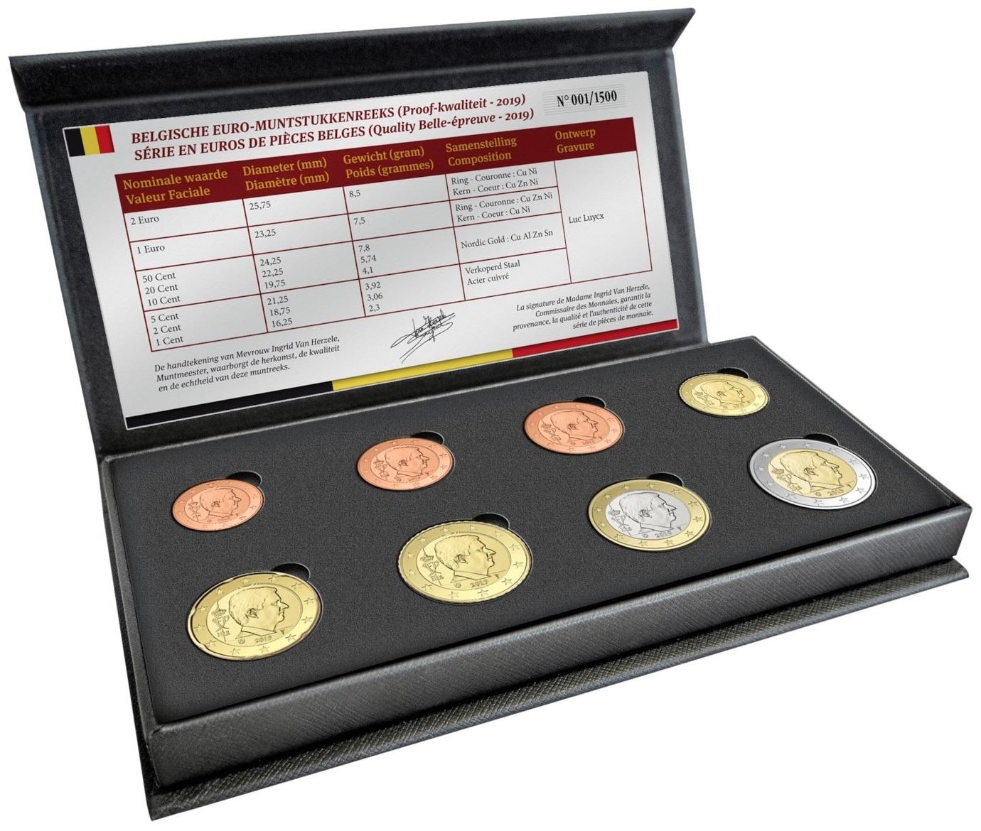 (EUR02.CofBE.2019.0106165) Proof coin set Belgium 2019 (open) (zoom)