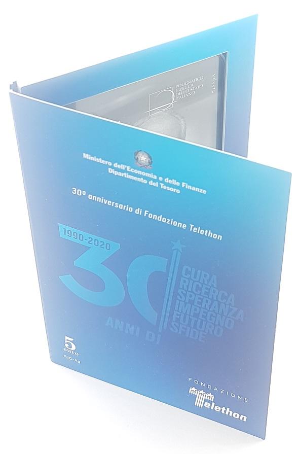 (EUR10.ComBU&BE.2020.48-2MS10-20F012) 5 euro Italie 2020 BU silver - Telethon Front (zoom)