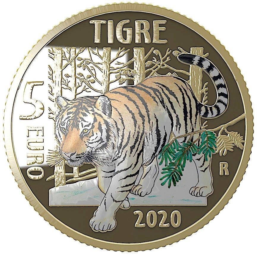 (EUR10.ComBU&BE.2020.500.BE.48-2MS10-20P006) 5 euro Italy 2020 Proof - Tiger Reverse (zoom)