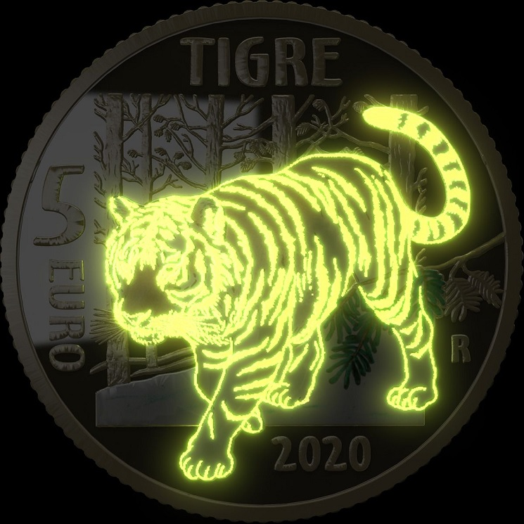 (EUR10.ComBU&BE.2020.500.BE.48-2MS10-20P006) 5 euro Italy 2020 Proof - Tiger (glow-in-the-dark) (zoom)