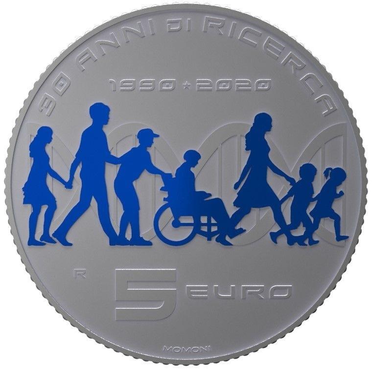(EUR10.ComBU&BE.2020.500.BU.COM1) 5 euro Italy 2020 BU silver - Telethon Reverse (zoom)