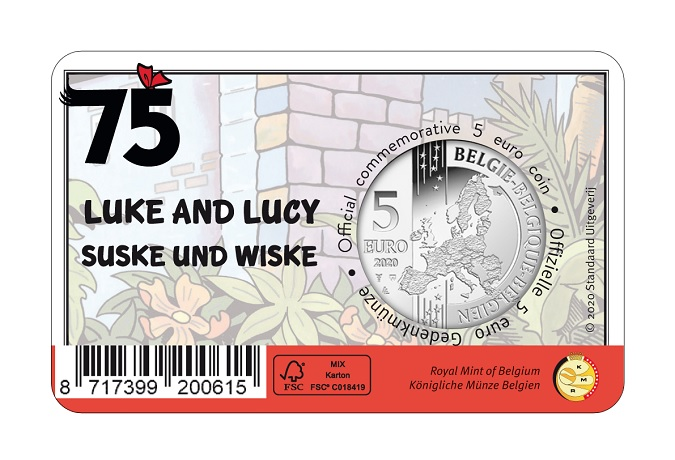 (EUR02.ComBU&BE.2020.500.BU.COM1) 5 euro Belgium 2020 BU - Luke and Lucy Back (zoom)