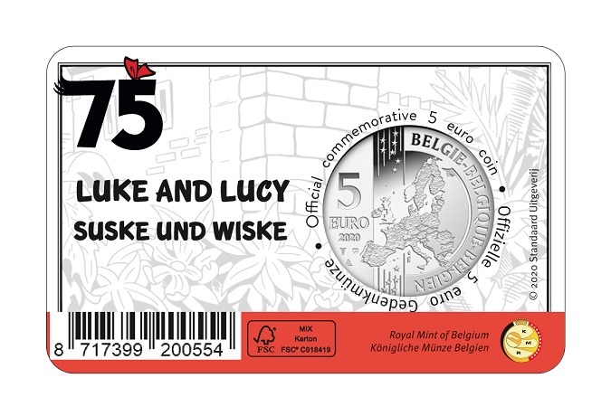(EUR02.ComBU&BE.2020.500.BU.COM1.1) 5 euro Belgium 2020 BU - Luke and Lucy (coloured) Back (zoom)