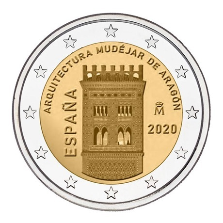 (EUR05.200.2020.COM1) 2 euro commémorative Espagne 2020 - Architecture mudéjare d'Aragon