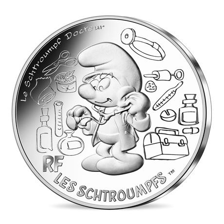 (EUR07.1000.2020.10041345540005) 10 euro France 2020 argent - Schtroumpf docteur Avers