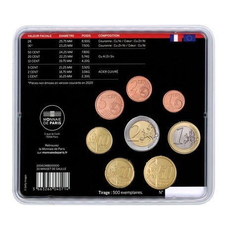 (EUR07.CofBU&FDC.2020.M-S.10041348600000) Mini-set BU France 2020 - Charles de Gaulle Verso