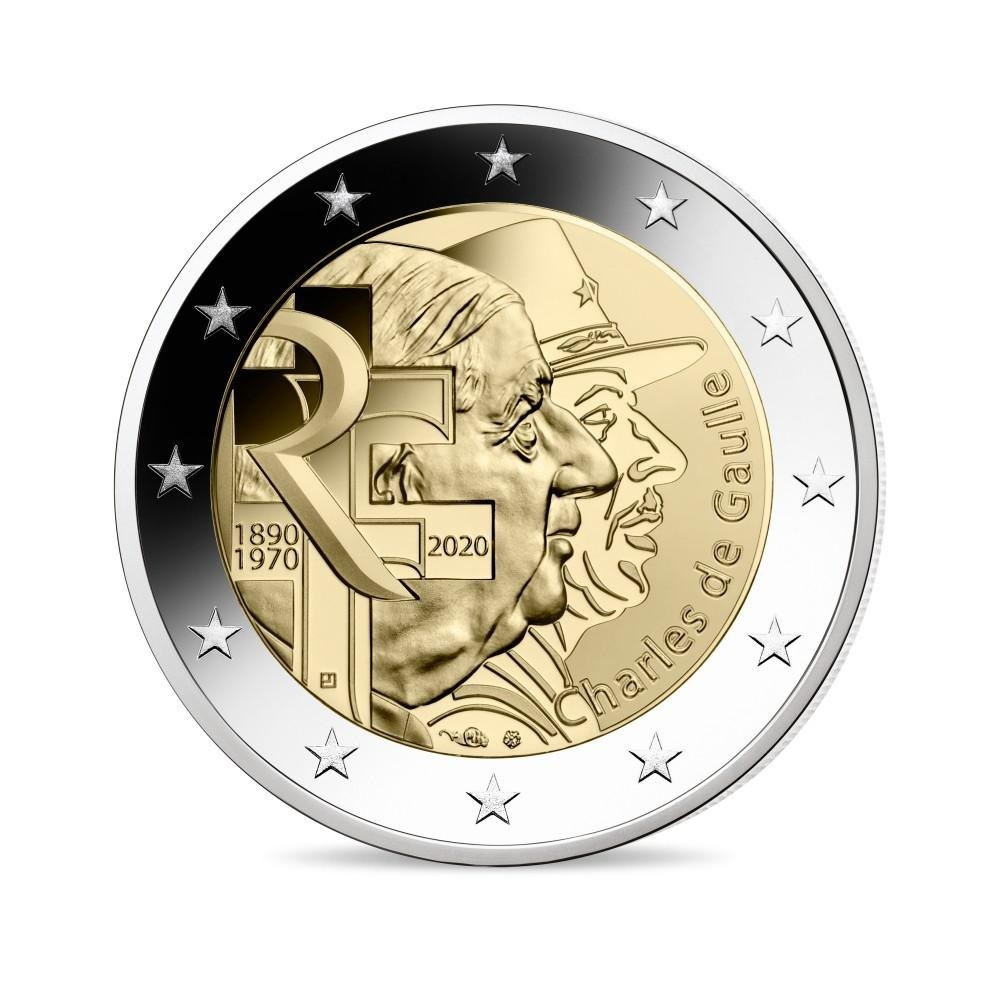 (EUR07.ComBU&BE.2020.200.BE.10041345060000) 2 euro France 2020 Proof - General de Gaulle Obverse (zoom)