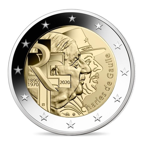 (EUR07.ComBU&BE.2020.200.BE.10041345060000) 2 euro commémorative France 2020 BE - Charles de Gaulle Avers