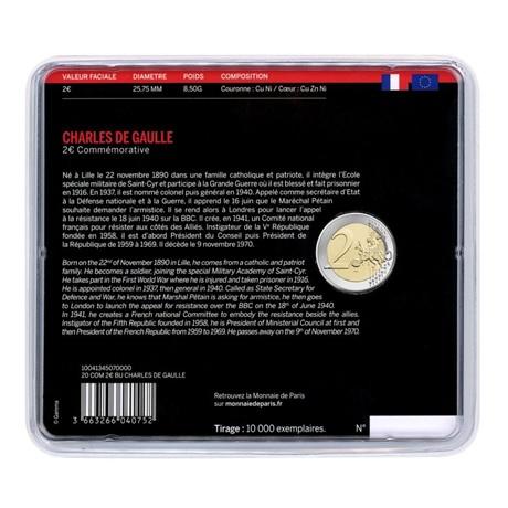 (EUR07.ComBU&BE.2020.200.BU.10041345070000) 2 euro commémorative France 2020 BU - Charles de Gaulle Verso