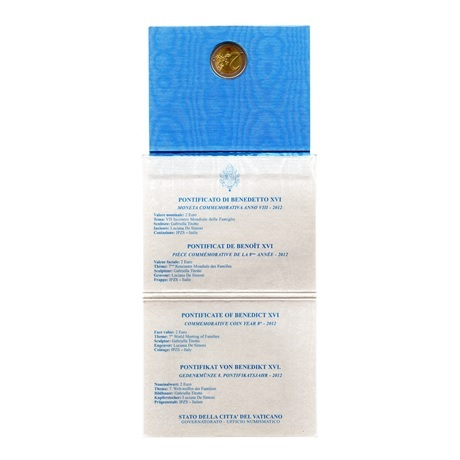 (EUR19.ComBU&BE.2012.200.BU.COM1) Vatican 2012 - Rencontre mondiale des familles (revers et informations)