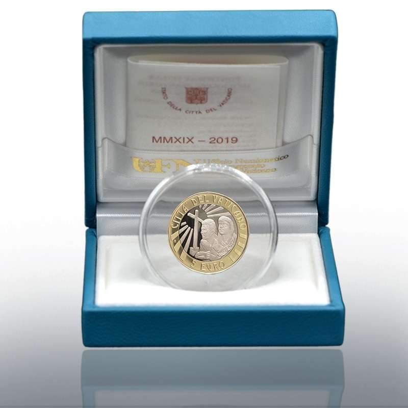 (EUR19.ComBU&BE.2019.CN1488) 5 euro Vatican 2019 Proof - World Youth Day, in Panama (case) (zoom)